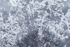 Текстура предпосылки ледяных кристаллов Ледистая картина, в зиме Стоковая Фотография