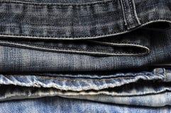 Текстура предпосылки джинсовой ткани голубых джинсов Стоковая Фотография RF