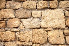 Текстура предпосылки каменной стены старой крепости на Родосе Исландия, Стоковые Изображения