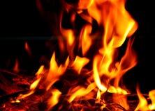 Текстура пламени пожара пламени на всей предпосылке Стоковые Фотографии RF