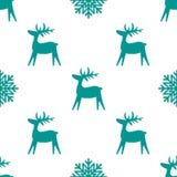 Текстура рождества безшовная с северным оленем и снежинками иллюстрация штока