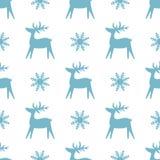 Текстура рождества безшовная с северным оленем и снежинками иллюстрация вектора