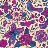 Текстура романтичного doodle флористическая Скопируйте тот квадрат к стороне и Стоковые Фотографии RF
