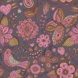 Текстура романтичного doodle флористическая Скопируйте тот квадрат к стороне и Стоковые Изображения RF