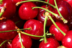 Текстура свежих фруктов вишни сладостная красная как предпосылка Стоковые Изображения
