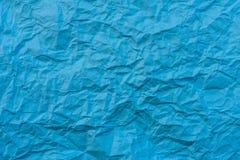 Текстура сморщенной голубой бумаги Стоковая Фотография RF