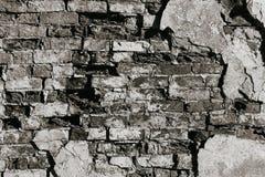 Текстура старой стены утеса для предпосылки черно-белой Стоковая Фотография