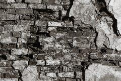 Текстура старой стены утеса для предпосылки черно-белой Стоковые Изображения