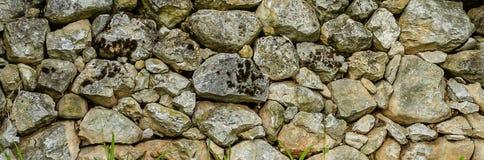Текстура с мхом, конец каменной стены вверх Стоковые Фотографии RF