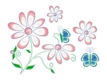 Текстура с стилизованными цветками и бабочками весны на белой предпосылке Стоковое Изображение