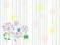 Текстура с стилизованным пинком весны цветет и голубые бабочки на белой предпосылке с желтыми, голубыми и коричневыми линиями и т Стоковое фото RF