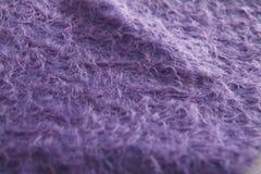 Текстура ткани фиолетового angora шерстяной Стоковая Фотография RF