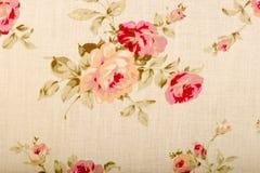 Текстура ткани хлопка linen с цветками чертежа Стоковое фото RF
