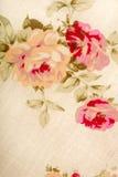 Текстура ткани хлопка linen с цветками чертежа Стоковое Изображение RF