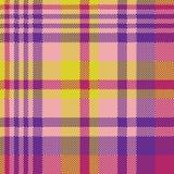 Текстура ткани madras желтой розовой проверки безшовная Стоковое Изображение RF
