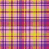Текстура ткани madras желтой розовой проверки безшовная Стоковые Фото