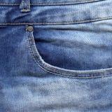 текстура тканья джинсыов карманная голубая текстура джинсовой ткани Стоковая Фотография