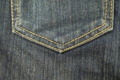 текстура тканья джинсыов карманная Стоковые Фото