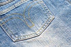 текстура тканья джинсыов карманная Стоковые Изображения