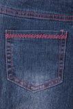 текстура тканья джинсыов карманная Стоковое Изображение