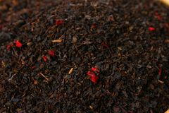 Текстура трав чая черный чай Органические высушенные листья черного чая Стоковые Фотографии RF