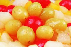 Текстура фруктового салата Плодоовощи как картина предпосылки Экзотический фруктовый салат плодоовощей с манго кислой вишни вишни Стоковые Изображения