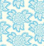 Текстура флористического декоративного шнурка голубая безшовная. Предпосылка с богато украшенными цветками Стоковое фото RF