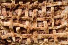 Текстура яблочного пирога, печенье десерта Предпосылка хлебопекарни Стоковые Фото