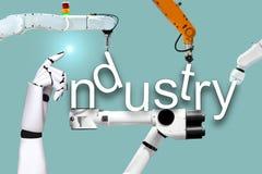 Текстура ярлыка роботов индустрии и механически руки стоковые изображения rf