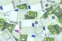 текстура 100 примечаний евро Стоковые Фото