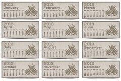 Текстура 2013 календаров коричневая Стоковые Изображения