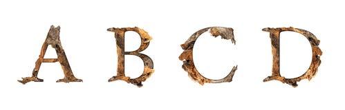 Текстура A B c d алфавита деревянная изолированная на белом backgroud Стоковая Фотография