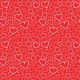 Текстура Doodle картины абстрактных сердец безшовная Стоковая Фотография