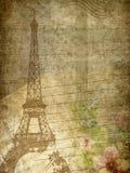 Текстура Grunge бумажная с Эйфелевой башней, примечанием музыки и цветками иллюстрация вектора