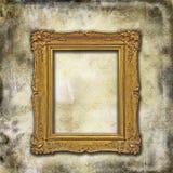 текстура grunge рамки золотистая Стоковые Изображения