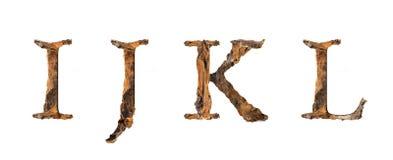 Текстура I J k l алфавита деревянная изолированное на белом backgroud Стоковые Фотографии RF