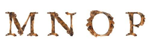 Текстура M N o p алфавита деревянная изолированная на белом backgroud Стоковая Фотография RF