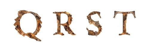 Текстура Q R s t алфавита деревянная изолированная на белом backgroud Стоковая Фотография