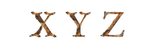 Текстура X y z алфавита деревянная изолированное на белом backgroud Стоковые Изображения
