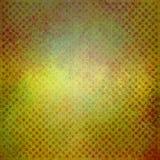 Текстурированная зеленая предпосылка желтого цвета и золота с слабыми детальными блоками красных нашивок или линий текстуры Стоковые Фотографии RF