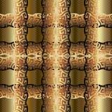 текстурированная золотом картина вектора решетки 3d безшовная Стоковые Изображения
