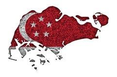 Текстурированная карта Сингапура в славных цветах Стоковая Фотография RF
