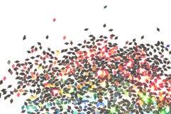 Текстурированная предпосылка с черным голографическим ярким блеском на белых, декоративных блесточках Стоковая Фотография