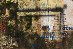 Текстурированная предпосылка стены Grunge с граффити Стоковое фото RF