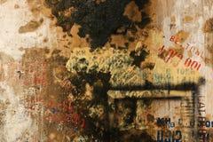 Текстурированная предпосылка стены Grunge с граффити Стоковые Фотографии RF