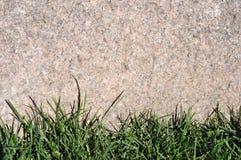 Текстурированная рамка предпосылки естественная каменная с травой Стоковая Фотография