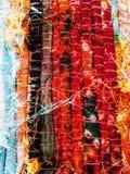 текстурированное сделанное hend ткани цветов стоковое изображение