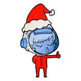 текстурированный мультфильм милой девушки астронавта давая большие пальцы руки вверх по носить шляпу santa бесплатная иллюстрация