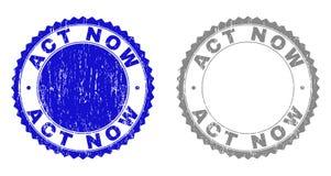 Текстурированный ПОСТУПОК ТЕПЕРЬ поцарапал печати с лентой иллюстрация вектора