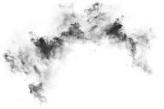 Текстурированный дым, абстрактная чернота, изолированная на белой предпосылке Стоковые Изображения